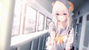 Rating: Safe Score: 58 Tags: animal_ears horns long_hair neiless_neiro original paper school_uniform sheepgirl white_hair User: BattlequeenYume