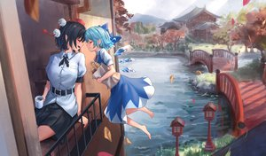 Rating: Safe Score: 38 Tags: 2girls aqua_hair autumn barefoot black_hair blush building cirno drink fairy food grass hat leaves pointed_ears roke_(taikodon) shameimaru_aya short_hair shoujo_ai skirt touhou water wings User: mattiasc02