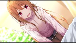 Rating: Safe Score: 115 Tags: bed blush brown_hair long_hair mikage_mone mone_channel na53 pantyhose red_eyes shorts User: BattlequeenYume