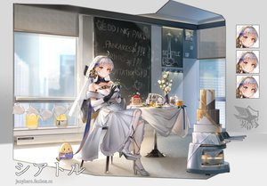 Rating: Safe Score: 46 Tags: aliasing animal anthropomorphism azur_lane bird brown_eyes cake cat_smile dress flowers food fruit gloves headdress janyhero manjuu_(azur_lane) seattle_(azur_lane) strawberry watermark wedding_attire white_hair User: BattlequeenYume