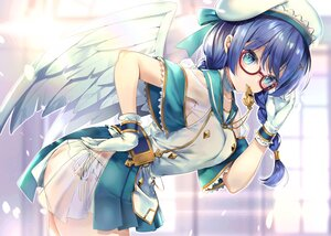 Rating: Safe Score: 68 Tags: angel aqua_eyes blue_eyes blush bow braids feathers gabriel_(isepapa) glasses gloves hane_yuki hat isekai_no_papa panties ribbons see_through twintails underwear wings User: BattlequeenYume
