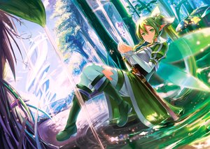 Rating: Safe Score: 131 Tags: boots braids building butterfly fairy forest green_eyes green_hair kyaro_(kyaro54) leafa long_hair pointed_ears ponytail sword sword_art_online tree water weapon wings User: Flandre93
