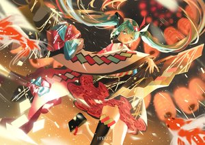 Rating: Safe Score: 69 Tags: animal fish green_hair hatsune_miku japanese_clothes long_hair magical_mirai_(vocaloid) microphone mullpull thighhighs twintails vocaloid watermark wink User: BattlequeenYume