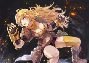 Rating: Safe Score: 84 Tags: blonde_hair boots brat breasts cleavage long_hair navel purple_eyes rwby scarf shorts thighhighs yang_xiao_long User: RyuZU