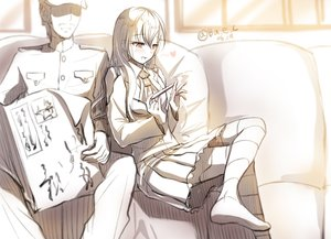 Rating: Safe Score: 120 Tags: admiral_(kancolle) anthropomorphism blush boyogo kantai_collection long_hair male military monochrome paper signed sketch suzuya_(kancolle) thighhighs uniform User: vf.nightcore