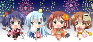 Rating: Safe Score: 18 Tags: akatsuki_(kancolle) anthropomorphism apple aqua_hair blonde_hair blue_eyes blush brown_eyes brown_hair candy chocolate fang festival fireworks flowers food fruit gradient group hibiki_(kancolle) hizuki_yayoi ikazuchi_(kancolle) inazuma_(kancolle) japanese_clothes kantai_collection long_hair mask ponytail short_hair summer yukata User: otaku_emmy