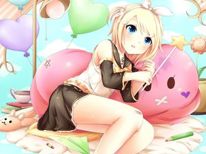 Rating: Safe Score: 92 Tags: blonde_hair blue_eyes bow kagamine_rin ponytail sakakidani short_hair skirt vocaloid User: opai