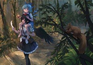 Rating: Safe Score: 49 Tags: 2girls animal apple barefoot bird cirno fairy food forest fruit loli pointed_ears roke_(taikodon) shameimaru_aya touhou tree wings User: BattlequeenYume