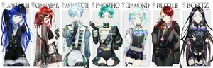 Rating: Safe Score: 38 Tags: antarcticite aqua_eyes aqua_hair black_hair blue_eyes blue_hair bort cinnabar diamond_(houseki_no_kuni) ekita_xuan elbow_gloves garter_belt gloves green_eyes green_hair houseki_no_kuni lapis_lazuli_(houseki_no_kuni) long_hair military necklace phosphophyllite red_eyes red_hair rutile see_through short_hair shorts skirt stockings thighhighs uniform watermark white yellow_eyes User: RyuZU