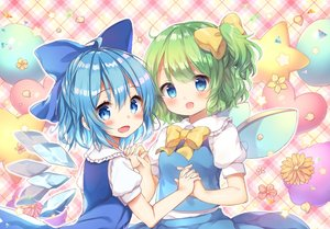 Rating: Safe Score: 39 Tags: 2girls aqua_eyes aqua_hair blush bow cirno daiyousei dress fairy flowers green_hair petals pjrmhm_coa ponytail short_hair touhou waifu2x wings User: otaku_emmy
