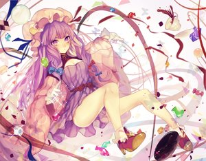 Rating: Safe Score: 75 Tags: ball bow candy daimaou_ruaeru dress drink gloves hat long_hair patchouli_knowledge purple_eyes purple_hair touhou User: luckyluna