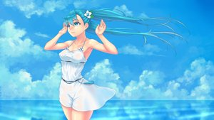 Rating: Safe Score: 74 Tags: aqua_eyes aqua_hair cloel clouds dress hatsune_miku long_hair sky summer_dress twintails vocaloid water User: FormX