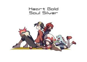Rating: Safe Score: 40 Tags: chikorita cyndaquil domu_(hamadura) gold_(pokemon) kotone_(pokemon) male pokemon silver totodile User: FormX