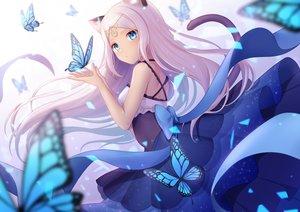 Rating: Safe Score: 106 Tags: animal_ears aqua_eyes bow butterfly catgirl dress gradient headdress hio_(hiohio0306) long_hair original ribbons tail white_hair User: otaku_emmy