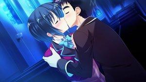 Rating: Safe Score: 13 Tags: baka_moe_heart_ni_ai_wo_komete! black_hair blue blush bow game_cg hug kaneshiro_ai kiss male night praline riv seifuku short_hair stairs yamanaka_shoutarou User: birdy73