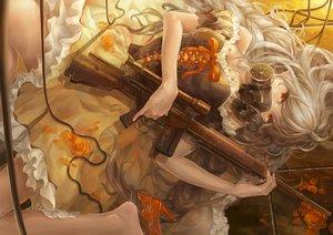 Rating: Safe Score: 151 Tags: dress flowers gun long_hair mask original petals piyotama weapon User: opai