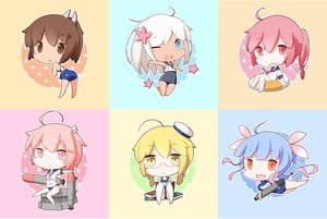 Rating: Safe Score: 18 Tags: anthropomorphism aqua_eyes aqua_hair blonde_hair book breast_hold brown_eyes brown_hair chibi fang giwa glasses hat i-168_(kancolle) i-19_(kancolle) i-401_(kancolle) i-58_(kancolle) i-8_(kancolle) kantai_collection pink_eyes pink_hair ponytail red_eyes ro-500_(kancolle) school_swimsuit school_uniform short_hair swim_ring swimsuit twintails weapon white_hair wink yellow_eyes User: otaku_emmy