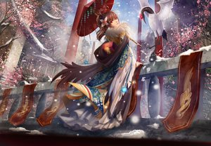 Rating: Safe Score: 386 Tags: animal bird brown_hair cherry_blossoms chinese_clothes liu long_hair original ponytail red_eyes snow umbrella winter User: FormX