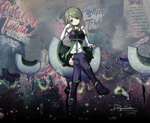 Rating: Safe Score: 66 Tags: boots dreamcatcher green_eyes green_hair mahou_shoujo_madoka_magica shizuki_hitomi signed thighhighs User: opai