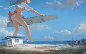 Rating: Questionable Score: 172 Tags: 2girls akagi_(kancolle) beach boat bow_(weapon) breasts building grass hjl kantai_collection long_hair panties skirt sky striped_panties underboob underwear water weapon User: Flandre93