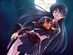 Rating: Safe Score: 66 Tags: blood fujino_arisu game_cg izumi_mahiru knife kurenai_(light) long_hair moon User: Oyashiro-sama