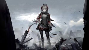Rating: Safe Score: 51 Tags: arknights cape game_cg gloves gray_hair gun horns liduke orange_eyes pantyhose polychromatic ruins short_hair w_(arknights) weapon User: Nepcoheart
