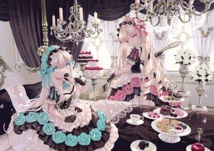 Rating: Safe Score: 41 Tags: 2girls aqua_eyes blonde_hair breasts cake cleavage dress food gloves lolita_fashion long_hair original pink_hair yumeichigo_alice User: Nepcoheart