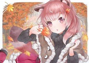 Rating: Safe Score: 117 Tags: animal_ears autumn leaves original piiro pink_eyes pink_hair tail User: Flandre93