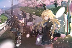 Rating: Safe Score: 106 Tags: arihara_tsubasa bicycle black_hair blonde_hair bow brown_hair building cherry_blossoms flowers group hachigatsu_no_cinderella_nine kawakita_tomoe long_hair nitta_minako nozaki_yuuki rolua school_uniform short_hair skirt tree yellow_eyes User: BattlequeenYume