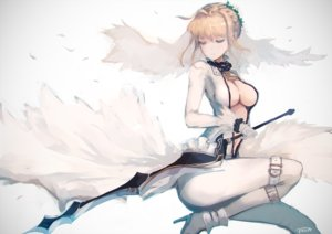 Rating: Safe Score: 293 Tags: blonde_hair boots breasts cleavage fate/extra fate/stay_night gloves headdress navel rean_(r_ean) saber_bride saber_extra signed sword weapon white User: Flandre93