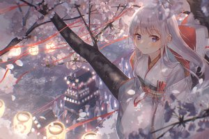 Rating: Safe Score: 99 Tags: blue_eyes blush cherry_blossoms fan festival flowers group hoodie japanese_clothes kimono long_hair mask original oyuyu shrine tree wedding_attire white_hair User: BattlequeenYume