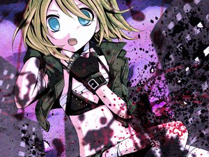 Rating: Safe Score: 56 Tags: blonde_hair blood blue_eyes flat_chest kagamine_rin vocaloid yayoi_(egoistic_realism) User: HawthorneKitty