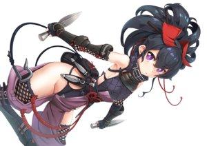 Rating: Safe Score: 102 Tags: armor black_hair elbow_gloves gloves knife ninja original ponytail purple_eyes thighhighs wapokichi weapon white User: otaku_emmy
