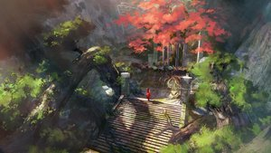 Rating: Safe Score: 81 Tags: landscape long_hair original scenic stairs tree volvox819 User: BattlequeenYume