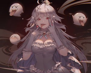 Rating: Safe Score: 98 Tags: boo breasts cleavage crown dress elbow_gloves gloves kawacy long_hair luigi's_mansion princess_king_boo red_eyes super_mario_bros watermark white_hair User: luckyluna