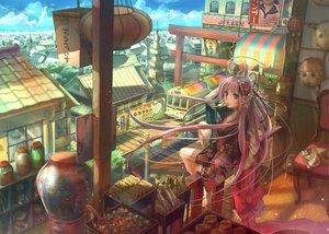 Rating: Safe Score: 338 Tags: barefoot building candy city clouds food fuji_choko ice_cream japanese_clothes kimono long_hair mask original pink_eyes pink_hair sky User: Kunimura