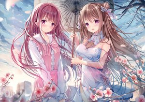 Rating: Safe Score: 267 Tags: 2girls blush braids breasts brown_hair building chinese_clothes chinese_dress cleavage clouds dress flowers long_hair original purple_eyes purple_hair scan sky sousouman umbrella User: BattlequeenYume