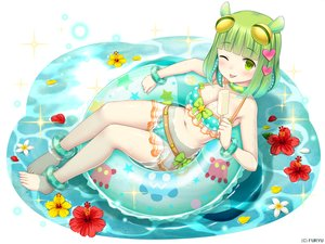 Rating: Safe Score: 55 Tags: bikini blush breasts cleavage flowers green_eyes green_hair ice_cream namaru_(summer_dandy) popsicle short_hair swim_ring swimsuit water wink wristwear User: luckyluna