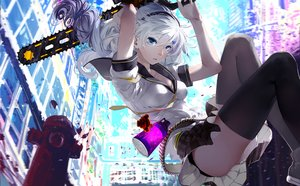 Rating: Safe Score: 372 Tags: blue_eyes chainsaw cici headband honkai_impact kiana_kaslana long_hair school_uniform skirt thighhighs tie weapon white_hair User: opai