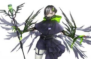 Rating: Safe Score: 57 Tags: black_hair cape dress garter green_eyes hoodie kasagarasu original short_hair staff white User: otaku_emmy