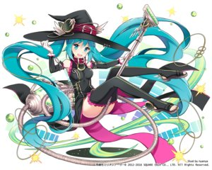 Rating: Safe Score: 96 Tags: aqua_eyes aqua_hair collar cosplay dress gloves hat hatsune_miku kaku-san-sei_million_arthur long_hair nyanya thighhighs twintails vocaloid watermark witch_hat User: otaku_emmy