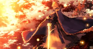 Rating: Safe Score: 48 Tags: armor artoria_pendragon_(all) cape fate_(series) fate/stay_night saber sword tomocha_(tmc_tmc8) weapon User: BattlequeenYume