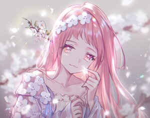 Rating: Safe Score: 37 Tags: cat_smile cherry_blossoms close flowers headdress lee_hyeseung long_hair original petals pink pink_eyes pink_hair polychromatic spring User: otaku_emmy