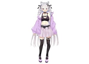 Rating: Safe Score: 77 Tags: animal_ears blush bow breasts catgirl cleavage collar fang garter gray_hair hourei_tenten long_hair matsui_hiroaki melty+ navel purple_eyes ribbons skirt thighhighs twintails white zettai_ryouiki User: otaku_emmy