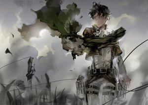 Rating: Safe Score: 79 Tags: black_hair cape ibaraki male rivaille shingeki_no_kyojin short_hair sword uniform weapon User: Flandre93