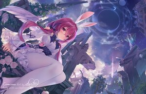 Rating: Safe Score: 130 Tags: animal_ears blush bunny_ears clouds daefny dress flowers magic pantyhose purple_eyes purple_hair rose ruins signed sky twintails wings User: BattlequeenYume