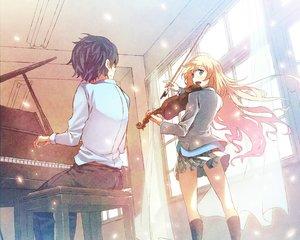 Rating: Safe Score: 99 Tags: arima_kousei black_hair blonde_hair blue_eyes cropped furai instrument kneehighs male miyazono_kaori piano shigatsu_wa_kimi_no_uso skirt violin User: mattiasc02