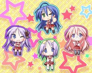 Rating: Safe Score: 6 Tags: hiiragi_kagami hiiragi_tsukasa izumi_konata lucky_star school_uniform takara_miyuki User: Oyashiro-sama