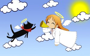 Rating: Safe Score: 37 Tags: angel animal cat hakase_(nichijou) nichijou sakamoto_(nichijou) sky wings User: Mazinger