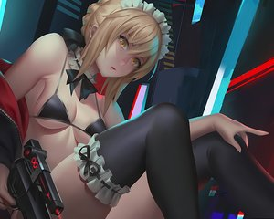 Rating: Safe Score: 49 Tags: artoria_pendragon_(all) bikini blonde_hair choker cropped fate/grand_order fate_(series) gun headdress maid saber saber_alter short_hair swimsuit thighhighs tie unfairr waifu2x weapon yellow_eyes User: mattiasc02